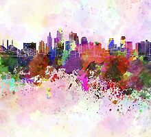 Kansas City skyline in watercolor background by paulrommer