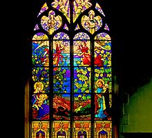 Stained Glass Window in a Church in Brittany France by Buckwhite