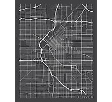 Denver Map, USA - Gray Photographic Print