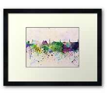 Riga skyline in watercolor background Framed Print
