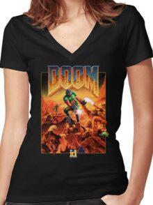Doom Poster Art 1993 PC Women's Fitted V-Neck T-Shirt