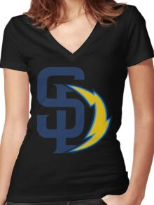 san diego chargers Women's Fitted V-Neck T-Shirt