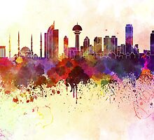Ankara skyline in watercolor background by paulrommer