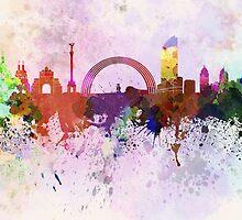 Kiev skyline in watercolor background by paulrommer