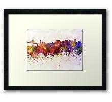 San Francisco skyline in watercolor background Framed Print