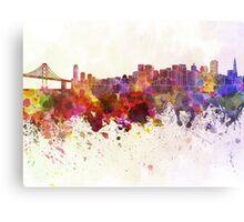 San Francisco skyline in watercolor background Metal Print