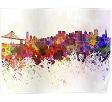San Francisco skyline in watercolor background Poster