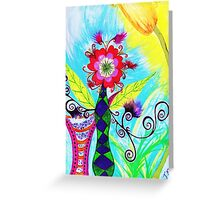 """Chex Floral"" by Jessie R Ojeda Greeting Card"