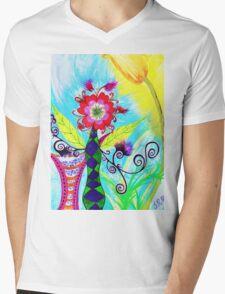 """""""Chex Floral"""" by Jessie R Ojeda Mens V-Neck T-Shirt"""