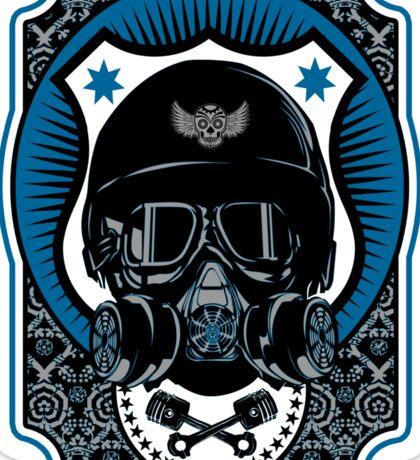 Drag Racing Helmet in Blue Sticker