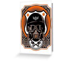 Drag Racing Helmet in Orange Greeting Card