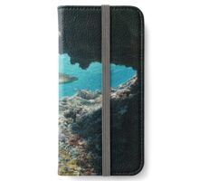 Natural hole underwater with a blacktip reef shark iPhone Wallet/Case/Skin