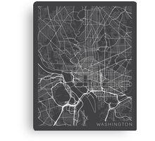 Washington DC Map, USA - Gray Canvas Print