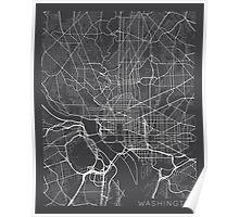 Washington DC Map, USA - Gray Poster
