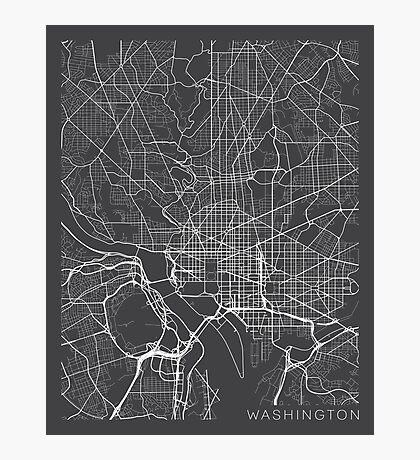 Washington DC Map, USA - Gray Photographic Print