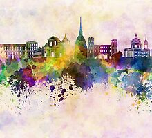 Turin skyline in watercolor background by paulrommer