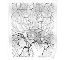 Washington DC Map, USA - Black and White Poster