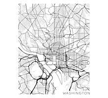 Washington DC Map, USA - Black and White Photographic Print