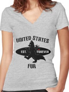 United States Fur Women's Fitted V-Neck T-Shirt