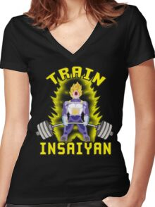 TRAIN INSAIYAN (Vegeta Deadlift) Women's Fitted V-Neck T-Shirt