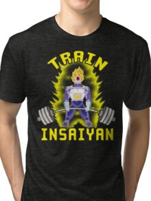TRAIN INSAIYAN (Vegeta Deadlift) Tri-blend T-Shirt