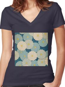 vintage,floral,art deco,pattern,floral,lotus,flowers,rustic,shabby chic Women's Fitted V-Neck T-Shirt