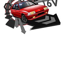 T-shirt 'Explosion' Citroen BX GTi 16V in Red by RJWautographics