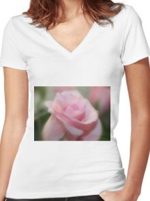 Tranquil Rose Women's Fitted V-Neck T-Shirt