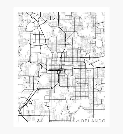 Orlando Map, USA - Black and White Photographic Print