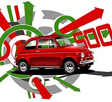 T-shirt 'Explosion' Classic FIAT 500  by RJWautographics
