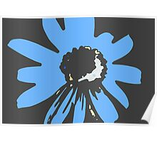 Retro pretty daisy blue black RMPD01 Poster
