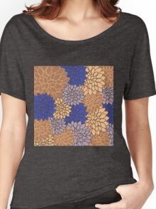 Navy blue,gold,floral,flowers,vintage,retro,beige,brown,elegant,chic Women's Relaxed Fit T-Shirt