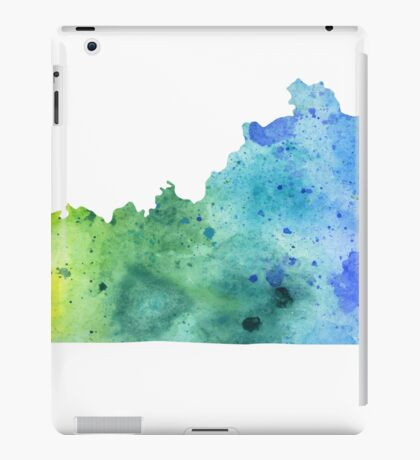 Watercolor Map of Kentucky, USA in Blue and Green iPad Case/Skin