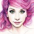 Beautiful Girl with Magenta Hair by OlechkaDesign