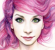 Beautiful Girl with Magenta Hair by OlechkaDesign