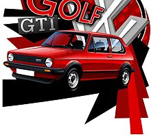 T-shirt 'Explosion' mk1 Golf GTi by RJWautographics