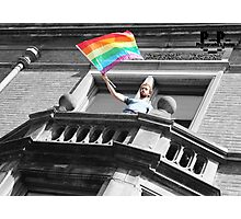 Balcony Flag Flying Photographic Print