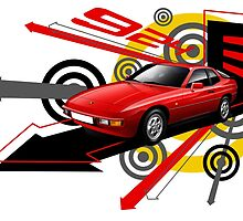 T-shirt 'Explosion' Red Porsche 924  by RJWautographics