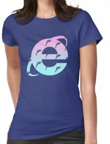 Vaporwave   Dolphins   Internet Explorer   HIGH QUALITY!   NEW! Womens Fitted T-Shirt