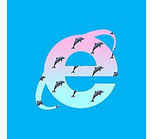 Vaporwave | Dolphins | Internet Explorer | HIGH QUALITY! | NEW! Photographic Print