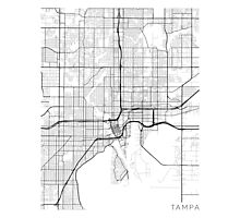 Tampa Map, USA - Black and White Photographic Print