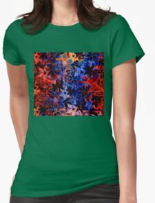 Abstract Art Retro Floral Pattern Womens Fitted T-Shirt