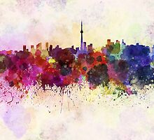 Toronto skyline in watercolor background by paulrommer