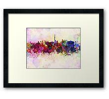 Toronto skyline in watercolor background Framed Print