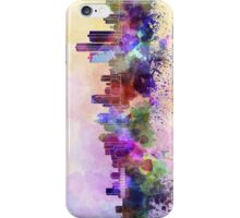 Detroit skyline in watercolor background iPhone Case/Skin