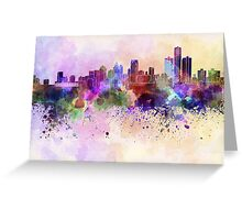 Detroit skyline in watercolor background Greeting Card