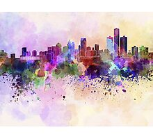 Detroit skyline in watercolor background Photographic Print