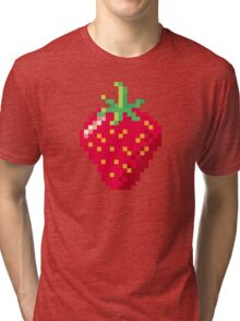 Pixel Strawberry Tri-blend T-Shirt
