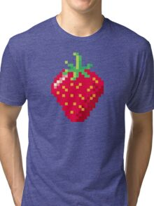 Pixel Strawberry Tri-blend T-Shirt