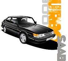 T-shirt Graphic car art- Saab 900 turbo by RJWautographics